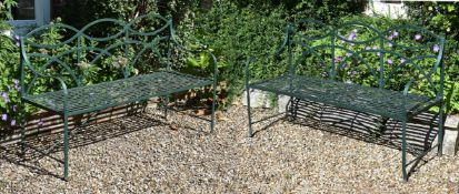 A PAIR OF IRON STRAPWORK BENCHES, 19TH CENTURY