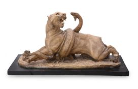 A FRENCH PLASTER GROUP OF A PANTHER AND SNAKE, EARLY 20TH CENTURY