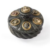 A GREEN SERPENTINE INKWELL INSET WITH LAVA STONE CAMEOS, MID 19TH CENTURY