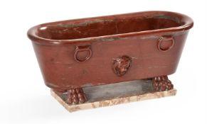 AN ITALIAN MODEL OF A ROMAN BATH IN ROSSO ANTICO MARBLE, MID-19TH CENTURY