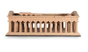 A CARVED 'GRAND TOUR' WOOD MODEL OF THE TEMPLE OF HERA AT PAESTUM, AFTER DOMENICO PADIGLIONE, MODERN