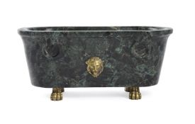 AN ITALIAN MODEL OF A ROMAN BATH IN VERDE ANTICO MARBLE, MID 19TH CENTURY