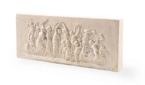 THOMASON OF CUDWORTH, AN ARTIFICAL STONE PLAQUE OF BACCHANALIAN BOYS, MODERN