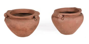A PAIR OF COMPTON POTTERY TERRACOTTA 'SCROLL' POTS, EARLY 20TH CENTURY
