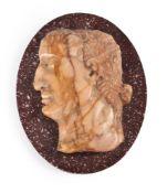 AN ITALIAN OVAL RELIEF OF A ROMAN EMPEROR IN GIALLO ANTICO MARBLE, 19TH CENTURY