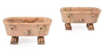 TWO ITALIAN MODELS OF ROMAN BATHS IN GIALLO ANTICO MARBLE, 19TH CENTURY