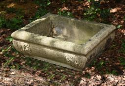 A CARVED STONE TROUGH, POSSIBLY FRENCH, EARLY 19TH CENTURY