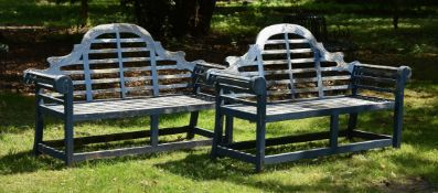 A PAIR OF HARDWOOD GARDEN BENCHES, AFTER A DESIGN BY LUTYENS, 20TH CENTURY