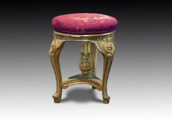 † A FRENCH GILT WOOD PIANO STOOL, 19TH CENTURY