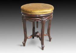 Y† A MID VICTORIAN ROSEWOOD PIANO STOOL, CIRCA 1870