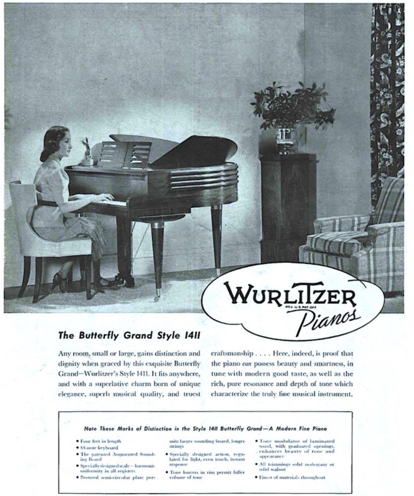 † WURLITZER, CINCINNATI; A 4'1'' BUTTERFLY GRAND PIANO, CIRCA 1937 - Image 7 of 7
