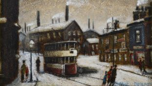 λ Arthur Delaney (British 1927-1987), Snow scene with tram