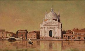 λ Raymond Skipp (British 1921-2001), Venetian scene with church and gondola