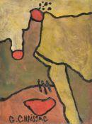 λ Gaston Chaissac (French 1910-1964), Composition abstraite à trois points rouges