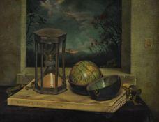 λ Raymond Skipp (British 1921-2001), Still life - hourglass and pocket globe