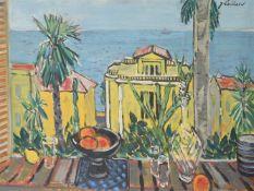 λ Jeanne Laillard (French 1897-1982), Still life with decanter and fruit