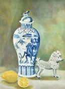 λ Lilian Hawthorn (nee Leahy) (British 1909-1996), Blue vase, porcelain dog & lemons