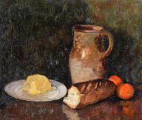λ Albert Malet (French 1902-1986), Still life of bread, butter, oranges and a jug