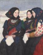 λ Oszkár Glatz (Hungarian 1872-1958), Three Hungarian girls in traditional dress