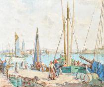 λ William Lee Hankey (British 1869-1952), Breton harbour scene