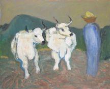 λ Henryk Gotlib (Polish 1890-1966), Oxen and Farmer