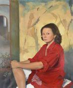 λ Claire Naylor (British 20th century), Set piece in red (self portrait)