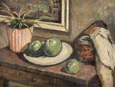 λ Tom Malone (British 1913-1986), Still life of apples with a striped plant pot
