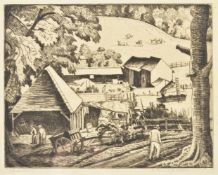λ Ethelbert White (British 1891-1972), The farm in the hollow