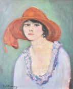 λ Emilie Charmy (French 1878-1974), Lady in a red hat