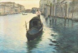 Alberto Prosdocimi (Italian 1852-1925), Venetian scene, with gondola in the foreground