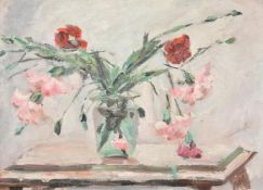 Jacqueline Marval (French 1866-1932), Still life with carnations in a glass vase
