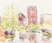 Richard Hayley Lever (American 1876-1958), Sherry-Netherland Hotel from Central Park in the spring