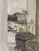 λ Jean Cooke (British 1927-2008), Geraniums on a Window Ledge