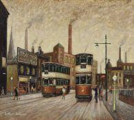 λ Arthur Delaney (British 1927-1987), Trams by the Ideal Milk Shop