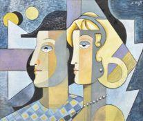 λ Bela de Kristo (Hungarian 1920-2006), Pierrot et Colombine