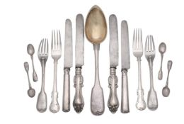 A mixed collection of Russian silver flatware and cutlery