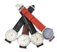 Luch, four stainless steel wrist watches
