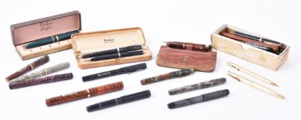 A collection of vintage marbled and other fountain pens