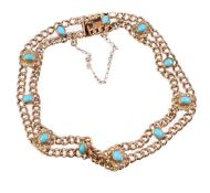 An early 20th century turquoise and seed pearl bracelet