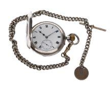 Walter Wyatt, Bournemouth, Silver keyless wind half hunter pocket watch, no. 599, circa 1909