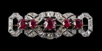 A mid 20th century ruby and diamond brooch