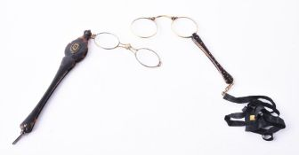 Y Two pairs of Victorian tortoiseshell lorgnettes