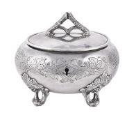 [Judaica] A Russian silver ovoid ethrog box by M. Swinarski