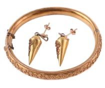 A Victorian Etruscan revival hinged bangle and similar ear pendants