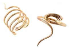 Two gilt serpent bangles attributed to Stephen Webster