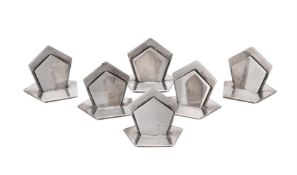 Asprey, a set of six Art Deco silver menu holders by Asprey & Co. Ltd