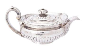 Y A George IV silver circular tea pot by William Knight II