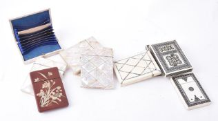Y Ten late 19th or early 20th century rectangular card cases