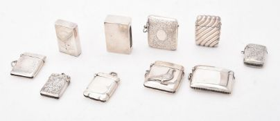 A collection of silver vesta cases