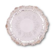 A George IV silver shaped circular salver by Edward Stammers